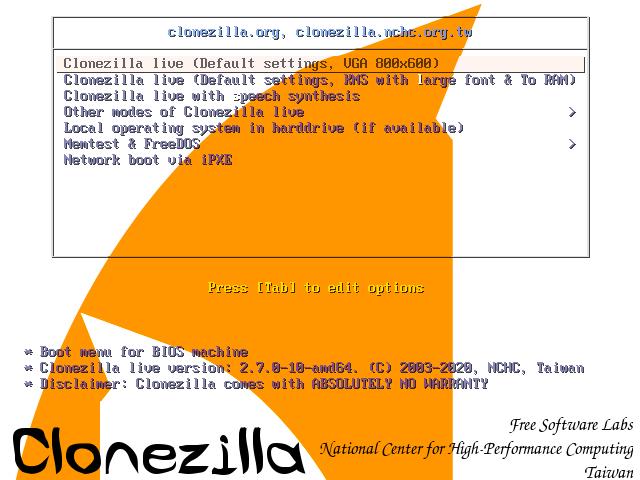 Create Recovery Clonezilla